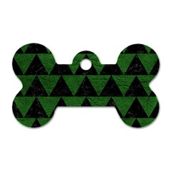 Triangle2 Black Marble & Green Leather Dog Tag Bone (one Side)
