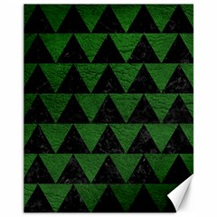 Triangle2 Black Marble & Green Leather Canvas 11  X 14