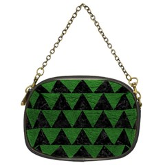 Triangle2 Black Marble & Green Leather Chain Purses (two Sides)