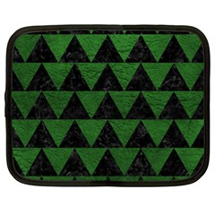 Triangle2 Black Marble & Green Leather Netbook Case (xl)