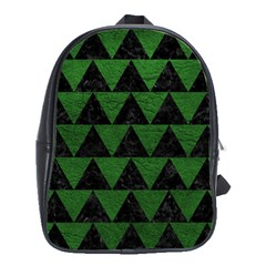 Triangle2 Black Marble & Green Leather School Bag (large)