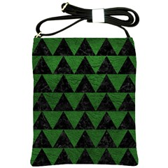 Triangle2 Black Marble & Green Leather Shoulder Sling Bags