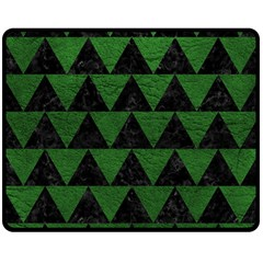 Triangle2 Black Marble & Green Leather Double Sided Fleece Blanket (medium)