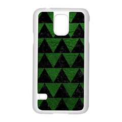 Triangle2 Black Marble & Green Leather Samsung Galaxy S5 Case (white)
