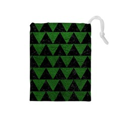 Triangle2 Black Marble & Green Leather Drawstring Pouches (medium)