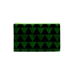 Triangle2 Black Marble & Green Leather Cosmetic Bag (xs)