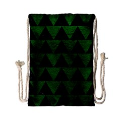 Triangle2 Black Marble & Green Leather Drawstring Bag (small)