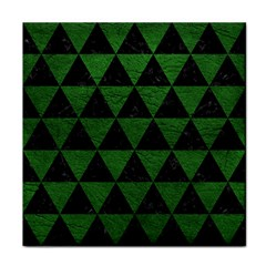 Triangle3 Black Marble & Green Leather Tile Coasters