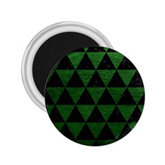 Triangle3 Black Marble & Green Leather 2 25  Magnets
