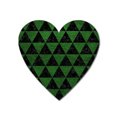 Triangle3 Black Marble & Green Leather Heart Magnet