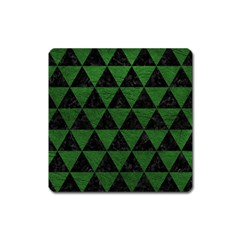 Triangle3 Black Marble & Green Leather Square Magnet