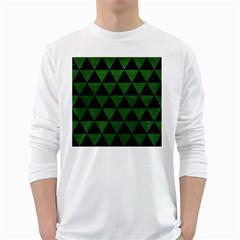 Triangle3 Black Marble & Green Leather White Long Sleeve T Shirts