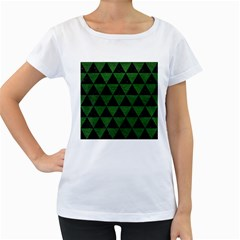 Triangle3 Black Marble & Green Leather Women s Loose Fit T Shirt (white)