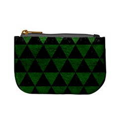 Triangle3 Black Marble & Green Leather Mini Coin Purses