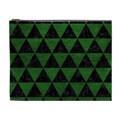Triangle3 Black Marble & Green Leather Cosmetic Bag (xl)