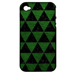 Triangle3 Black Marble & Green Leather Apple Iphone 4/4s Hardshell Case (pc+silicone)