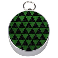 Triangle3 Black Marble & Green Leather Silver Compasses