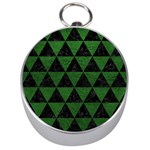 TRIANGLE3 BLACK MARBLE & GREEN LEATHER Silver Compasses Front