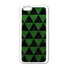 Triangle3 Black Marble & Green Leather Apple Iphone 6/6s White Enamel Case