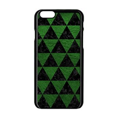 Triangle3 Black Marble & Green Leather Apple Iphone 6/6s Black Enamel Case