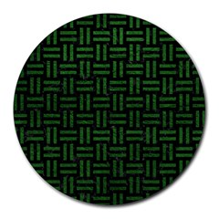 Woven1 Black Marble & Green Leather Round Mousepads