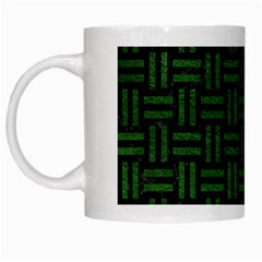 Woven1 Black Marble & Green Leather White Mugs