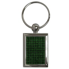 Woven1 Black Marble & Green Leather Key Chains (rectangle)