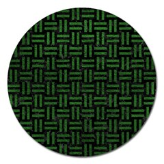 Woven1 Black Marble & Green Leather Magnet 5  (round)