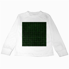 Woven1 Black Marble & Green Leather Kids Long Sleeve T Shirts