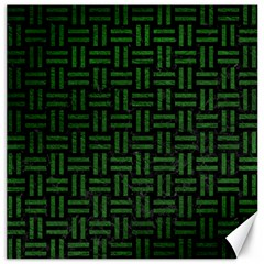 Woven1 Black Marble & Green Leather Canvas 12  X 12