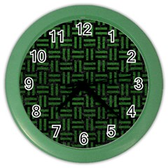 Woven1 Black Marble & Green Leather Color Wall Clocks