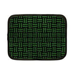 Woven1 Black Marble & Green Leather Netbook Case (small)