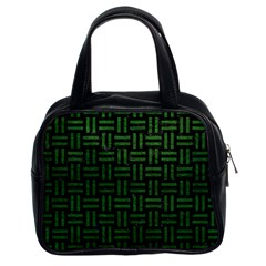 Woven1 Black Marble & Green Leather Classic Handbags (2 Sides)