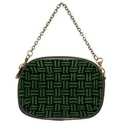 Woven1 Black Marble & Green Leather Chain Purses (one Side)