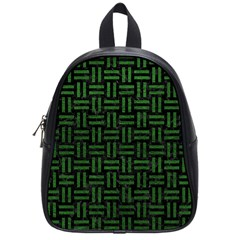 Woven1 Black Marble & Green Leather School Bag (small)