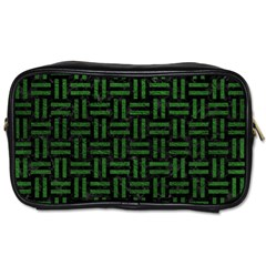 Woven1 Black Marble & Green Leather Toiletries Bags