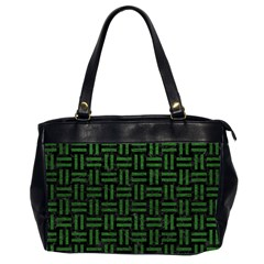 Woven1 Black Marble & Green Leather Office Handbags (2 Sides)