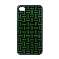 Woven1 Black Marble & Green Leather Apple Iphone 4 Case (black)