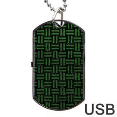 Woven1 Black Marble & Green Leather Dog Tag Usb Flash (one Side)