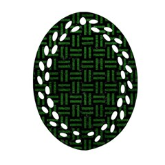 Woven1 Black Marble & Green Leather Ornament (oval Filigree)