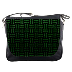 Woven1 Black Marble & Green Leather Messenger Bags