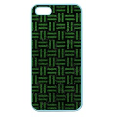 Woven1 Black Marble & Green Leather Apple Seamless Iphone 5 Case (color)