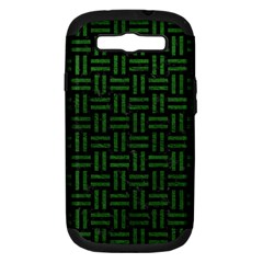 Woven1 Black Marble & Green Leather Samsung Galaxy S Iii Hardshell Case (pc+silicone)