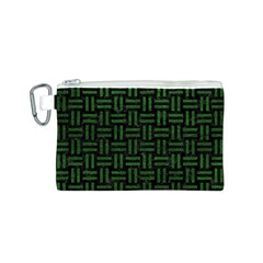 Woven1 Black Marble & Green Leather Canvas Cosmetic Bag (s)