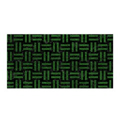 Woven1 Black Marble & Green Leather Satin Wrap