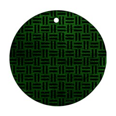 Woven1 Black Marble & Green Leather (r) Ornament (round)