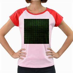 Woven1 Black Marble & Green Leather (r) Women s Cap Sleeve T Shirt