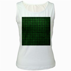 Woven1 Black Marble & Green Leather (r) Women s White Tank Top