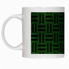 Woven1 Black Marble & Green Leather (r) White Mugs