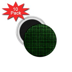 Woven1 Black Marble & Green Leather (r) 1 75  Magnets (10 Pack)